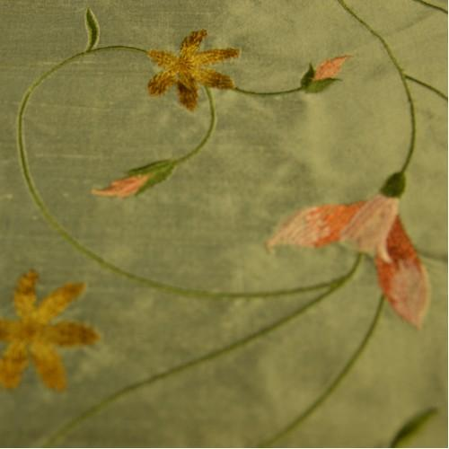 Butterfly Fabrics Floral Pattern with Curved Stems Silk Shantung Embroidery