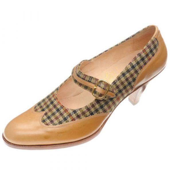 JOHN LOBB Tweed and Calf Austerity Brogue one Strap Court Shoe