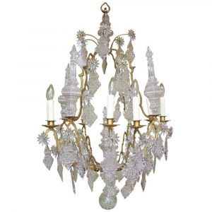 David Skinner Antiques 18th Century Venetian Rococo Crystal and Bronze Chandelier