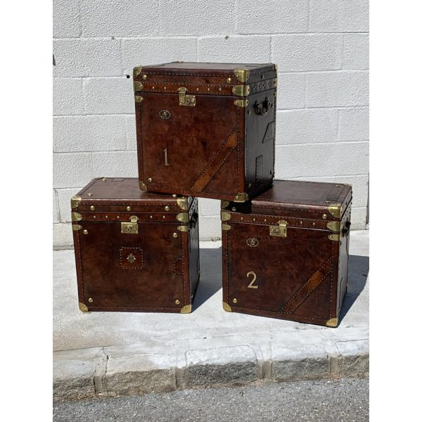 English Country Antiques Vintage Leather Trunks