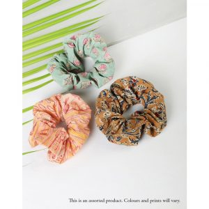 Fabindia Cotton Printed Small Scrunchie Set of 3