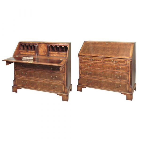 Jere's Antiques Georgian Style Walnut Oyster Bureau