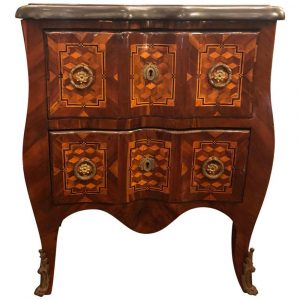 Kevin Stone French Marquetry Sauteuse with Marble Top