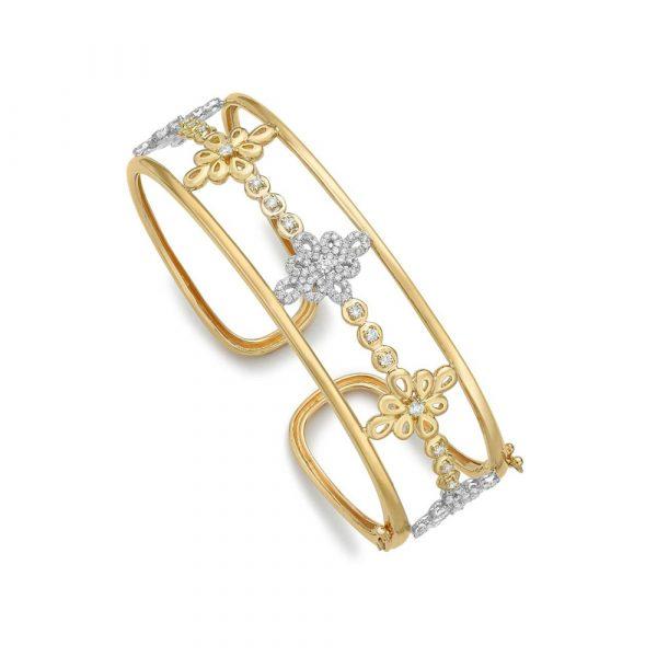 Kiki McDonough Lace Diamond Bangle In Yellow And White Gold