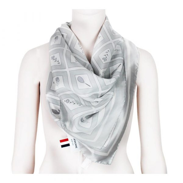 Renascence Thom Browne Grey Tone Whale Patterned Silk Square Scarf