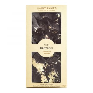 Saint Aymes The Babylon 70% Dark Chocolate Salted Pistachio & 23ct Gold Luxury Chocolate Bar