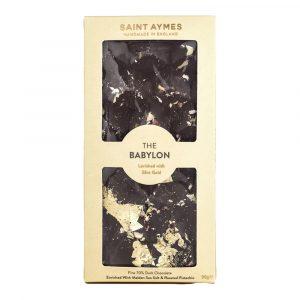 Saint Aymes The Babylon 70% Dark Chocolate Salted Pistachio & 23ct Gold Luxury Chocolate Bar