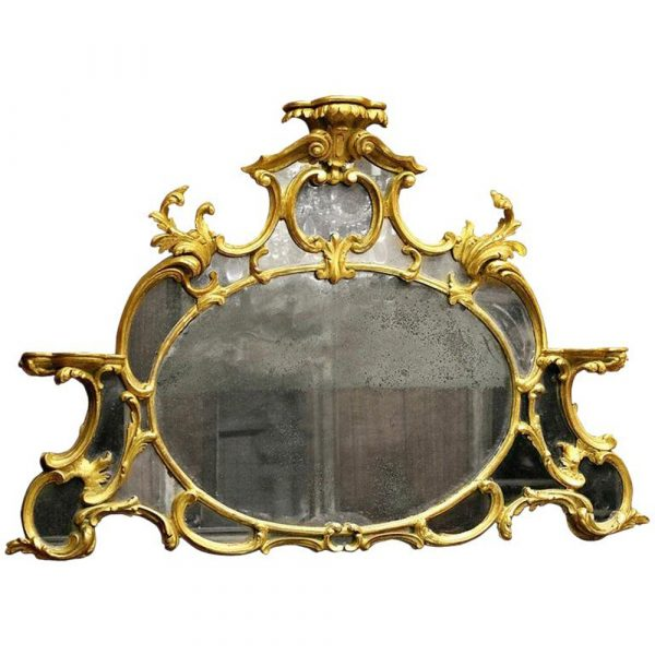 Savannah Galleries 18th Century English Chippendale Giltwood Overmantle Mirror