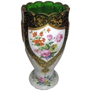 Savannah Galleries 19th century Moser Green Bohemian Art Glass Overlay Vase with Roses
