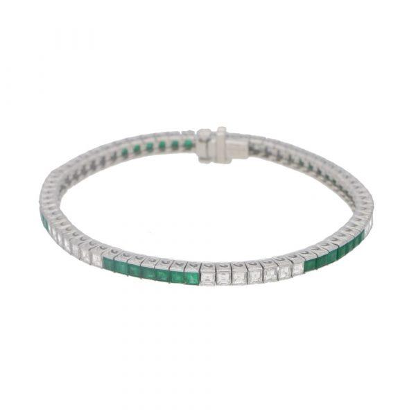 Susannah Lovis Jewellers Platinum Diamond And Emerald Line Bracelet
