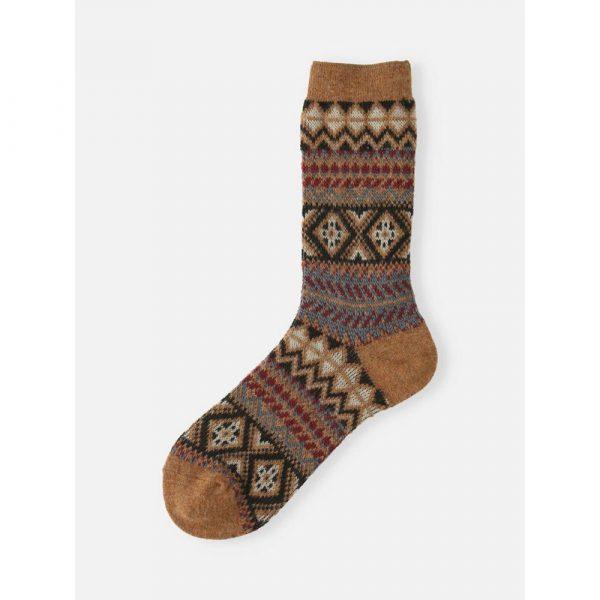 Tabio Mid-High Sock With Colorful Geometric Merino Wool