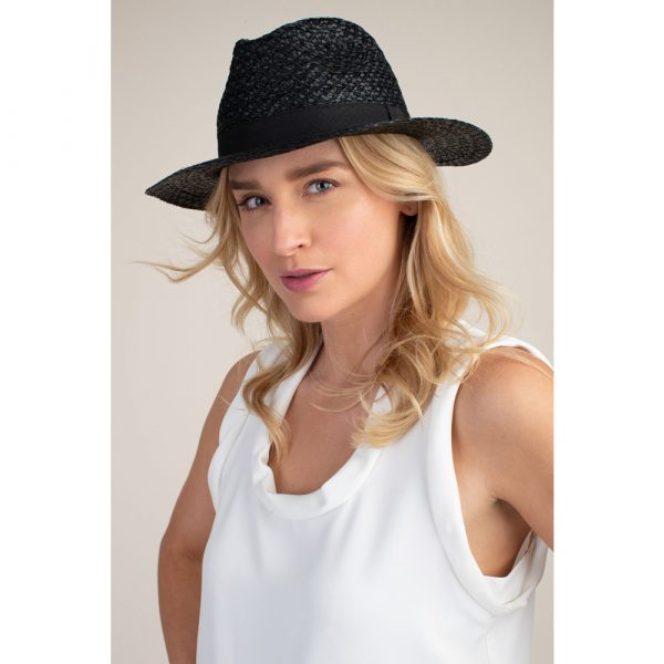 Trina Turk Onyx Raffia Hat