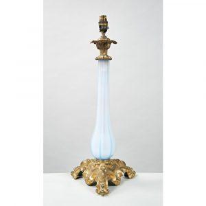 Westenholz Antiques Blue Opaline Lamp, Circa 1840