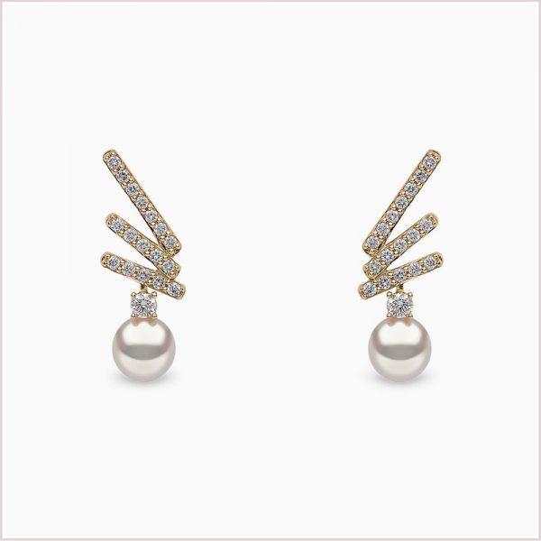 Yoko London Sleek Akoya Pearl And Diamond Stud Earrings In 18CT Yellow Gold