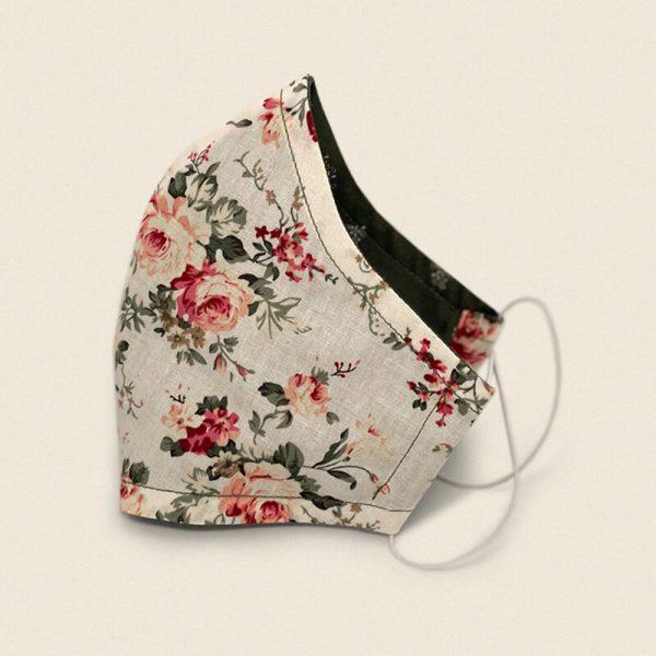 Christel und Sinn Fabric Mask - Flower Beige / Green