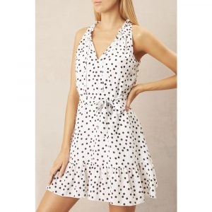 Heidi Klein Santa Margherita Ligure Ruffle Neck Mini Dress