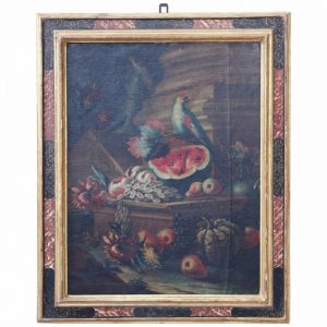 "Kevin Stone Antiques Italian School 18th Century ""Still Life with Bird and Fruit"""