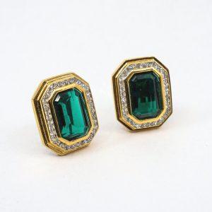 Le Grand Strip Emerald Green Diamond Cut Clip Earrings