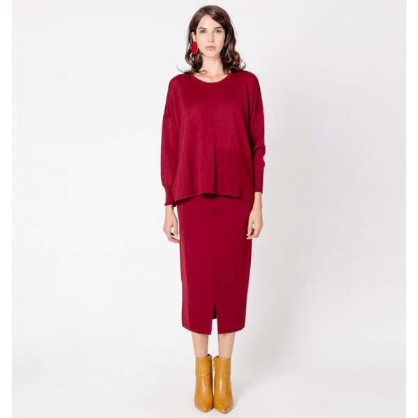 Martino Midali Burgundy Knit Skirt
