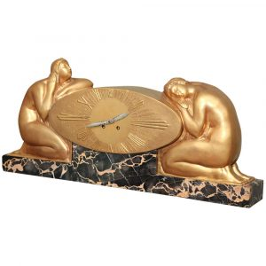 Paul Stamati Gallery French Art Deco Mantle Clock by Raoul-Eugene Lamourdedieu