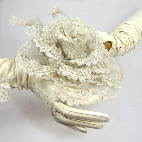 Basia Zarzycka Lace Rose Silk Flower Corsage Brooch