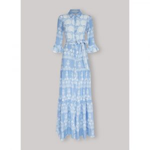 Beulah London Nalini Cornflower Floral Long Dress