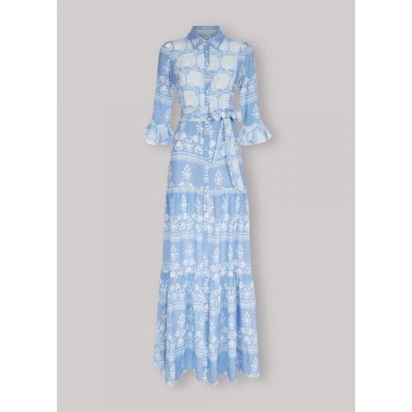 Beulah London Nalini Cornflower Floral Long Dress