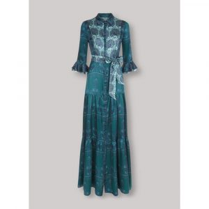 Beulah London Nalini Peacock & Emerald Long Dress