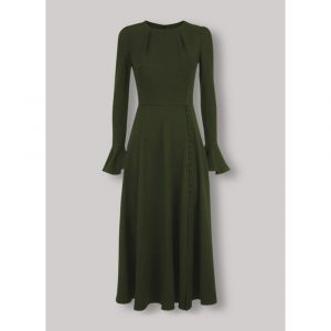 Beulah London Yahvi Olive Green Tailored Midi Dress