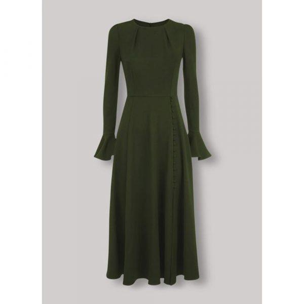 Beulah London Yahvi Olive Green Tailored Midi Dress