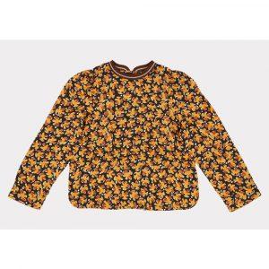 Caramel Osprey Blouse, Black Leaf Print