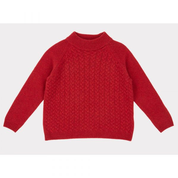 Caramel Owl Cable Jumper, Berry