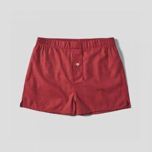 Hamilton & Hare Brushed Cotton Boxer Short - Red Herringbone