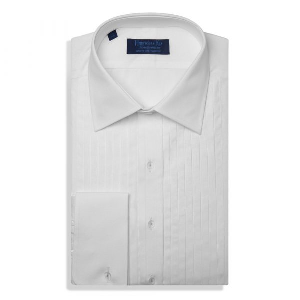 Hilditch and Key Contemporary Fit, Classic Collar, Double Cuff White Poplin Cotton Shirt with a Wide Pleated Front