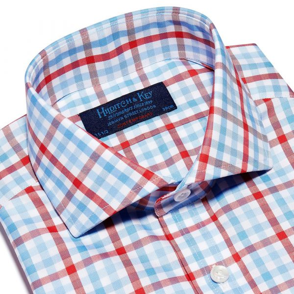 Hilditch and Key Red, Blue & White Large Check Twill Cotton Contemporary Fit, Cut-away Collar, 2 Button Cuff Shirt