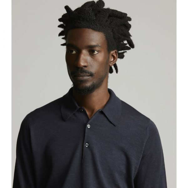 Huntsman Hepburn Smoke Merino Wool Polo Neck Knitwear