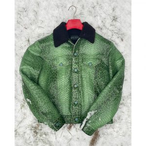 Jay Kos Kelly Green Leopard Print Python Skin Jean Jacket