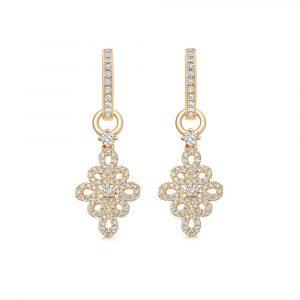 Kiki McDonough Lace Diamond Detachable Earrings In Yellow Gold