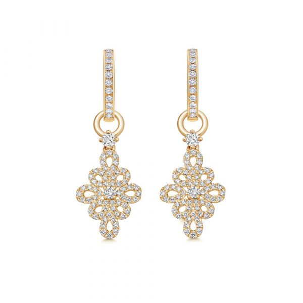 Kiki McDonough Lace Diamond Detachable Earrings In Yellow Gold