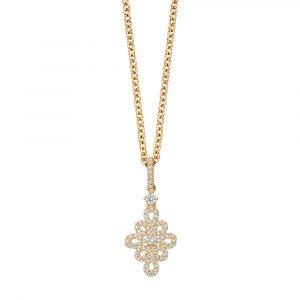 Kiki McDonough Lace Pave Diamond Pendant In Yellow Gold