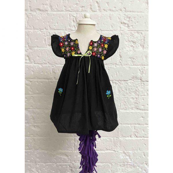 La Hamaca y el Rebozo Butterfly Dress Black