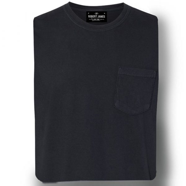 Robert James Daggers Pigment Dyed Pocket Tee- Washed Black Men's Knit T-Shirt