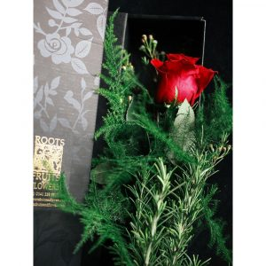 Roots, Fruits and Flowers Red Rose Gift Box With Specialty Chocolate From Chocolate Tree
