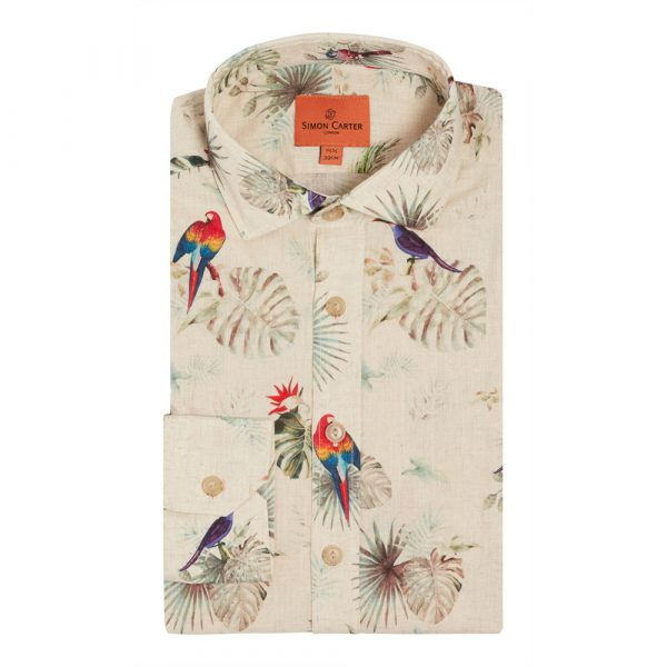 Simon Carter 'Tropical Dusk' Linen Blend Birds And Foliage Shirt