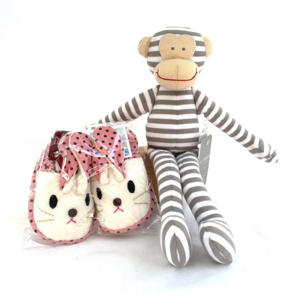 Teisch Toys and Books Baby Bunny Slippers + Monkey Rattle (Pink)