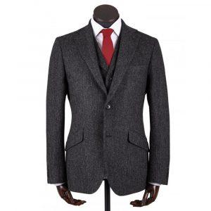 Walker Slater Edward Jacket Charcoal Donegal Pattern Shetland Tweed
