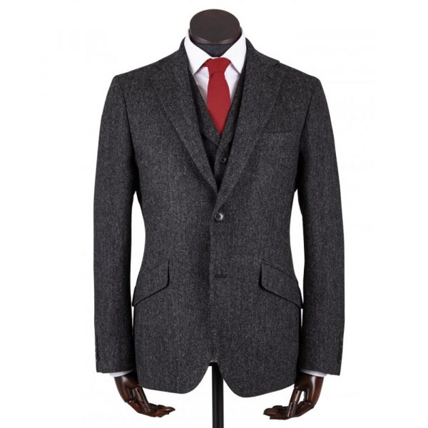 Walker Slater Edward Jacket Charcoal Donegal Pattern Shetland Tweed