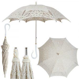 Bella Umbrella Vista Ivory Lace Parasol With Fancy Handle