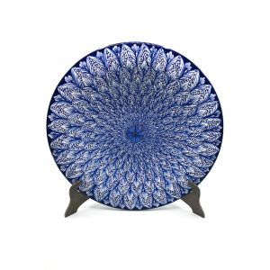 Flake's Hand Painted Blue Peacock Plate