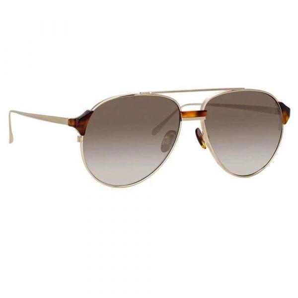 Linda Farrow Brooks Aviator Sunglasses In Light Gold